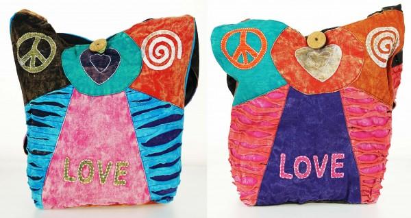 Trendige Ethno Hippie Indische Patchwork Love / Peace Design Baumwolle Taschen
