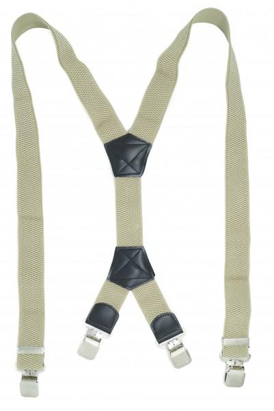 Hosenträger X-Design in Uni Farben mit 4 XL Alder Clips Beige 110cm
