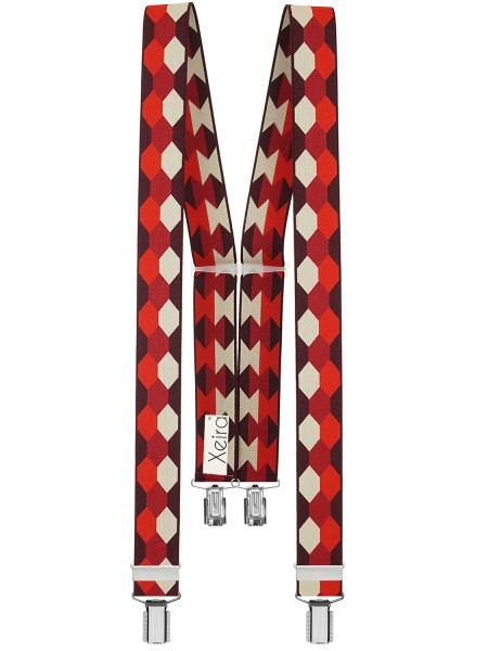 Hosenträger in Trendigen Retro Design mit 4 starken Clips