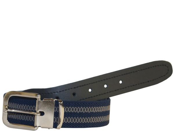 Stretchgürtel / Stoffgürtel - Blau / Grau gestreift mit schwarzem Leder