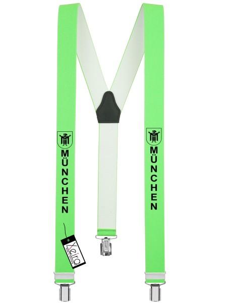 Hosenträger München Design mit 3 Clips von Xeira -Neon Grün