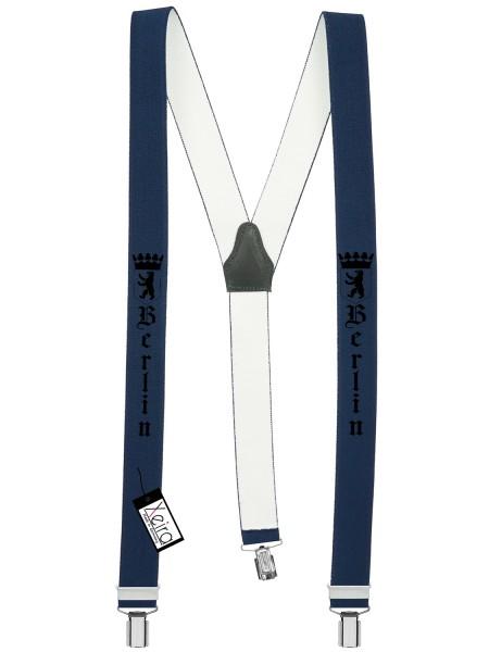 Hosenträger Berlin Design mit 3 Clips von Xeira Dunkel Blau