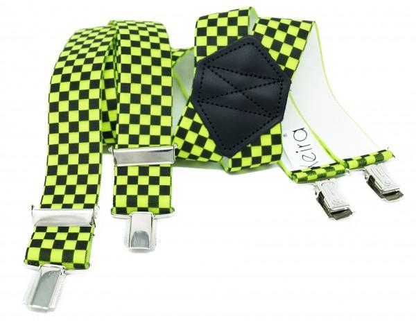 Kariert X Form Hosenträger in Neon Farben und Karierten Design mit 4 Clips Neon Gelb 110CM