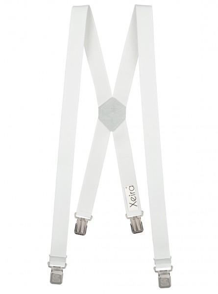 Hosenträger X-Design mit XL Adler Clips Weiß 110cm