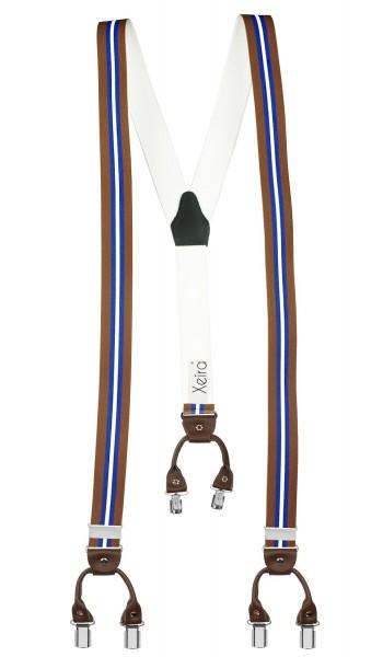 Hosenträger in Trendigen Gestreift Design mit Vintage Lederriemen und 6 Clips