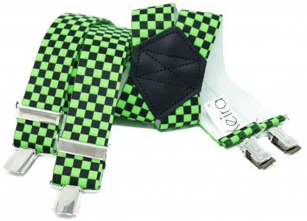 Kariert X Form Hosenträger in Neon Farben und Karierten Design mit 4 Clips Neon Green 110CM