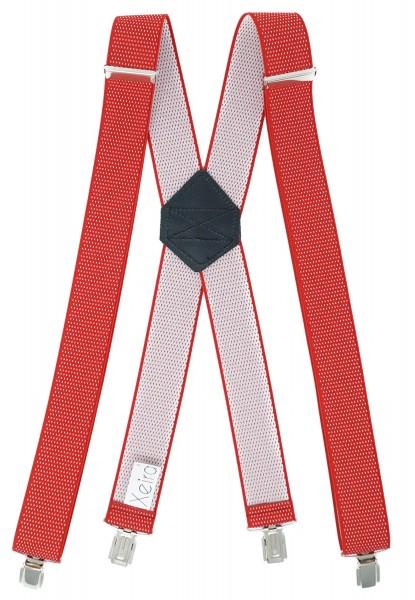 Hosenträger X Design 4 Clips Rot / Weiß Punkte - 120cm