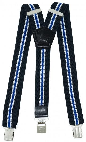 Hosenträger mit 3 Adler Clips 40mm Breit - Schwaru / Weiß / Blau