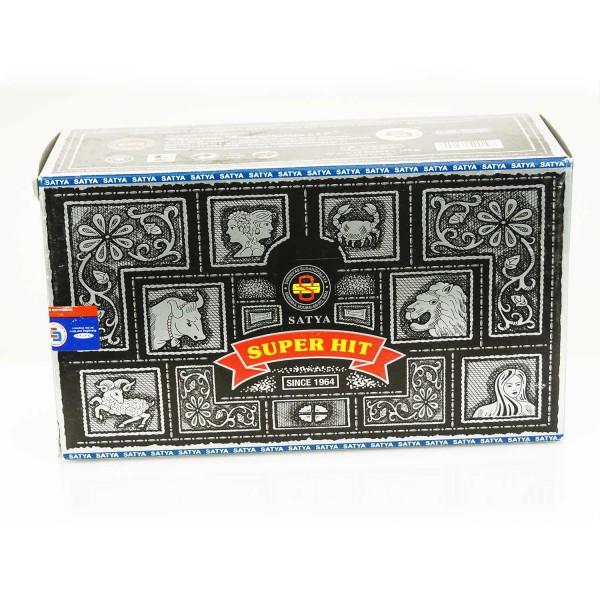 Räucherstäbchen Super Hit von Satya Großverpackung 180g mit 12 Verpackungen zu je 15g