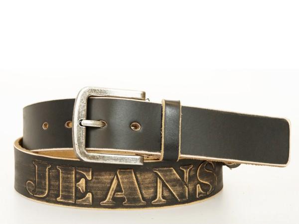 Ledergürtel Jeans 4 cm Breite in Schwarz - Vintage Design