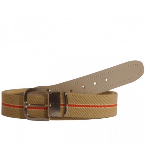 Stretchgürtel / Stoffgürtel - Beige Gestreift mit beigem Leder