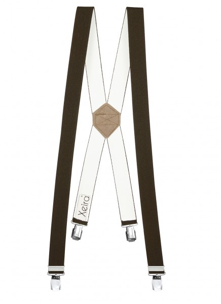 Hosenträger X-Design in Uni Farben mit 4 XL Clips Braun 110cm