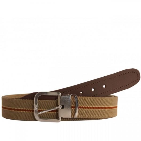 Stretchgürtel / Stoffgürtel - Beige / Braun Gestreift mit braunem Leder