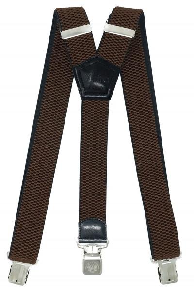 Hosenträger mit 3 Alder Clips 40mm Breit - Braun