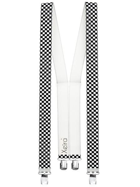 Hosenträger in Schwarz / Weiß Kariert Design mit 4 XL Clips