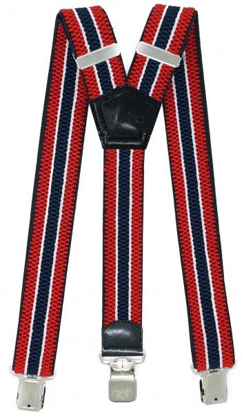 Hosenträger mit 3 Adler Clips 40mm Breit - Rot / Blau