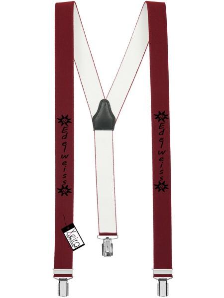 Hosenträger Edelweiss Design mit 3 Clips von Xeira- Bordeaux
