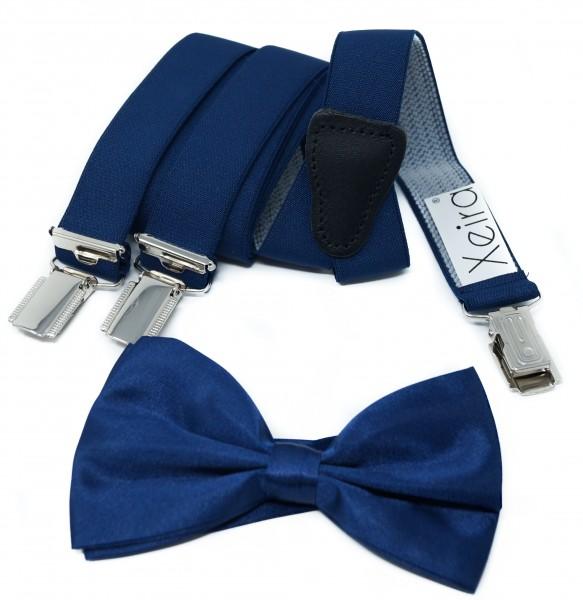 25mm Breite Hosenträger für Herren und Damen 3 Clips mit Fliege Dunkel Blau