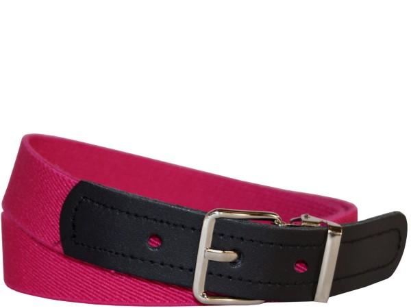 Hochwertiger Kinder Elastik- Stoffgürtel Uni Pink mit Leder Endstück