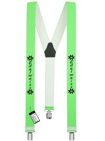 Hosenträger Edelweiss Design mit 3 Clips - Neon Grün