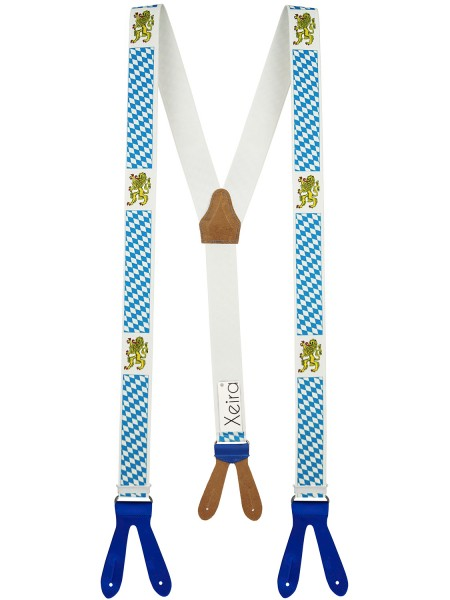 Hosenträger in Vintage Bayern Design mit Lederriemen