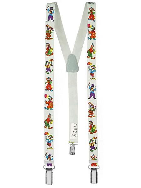 Kinder Hosenträger Clown Design Weiß