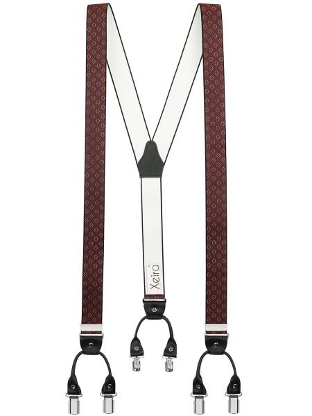Hochwertige Hosenträger in Trendigen Grau / Braun / Bordeaux Gestreift mit Vintage Lederriemen und 6