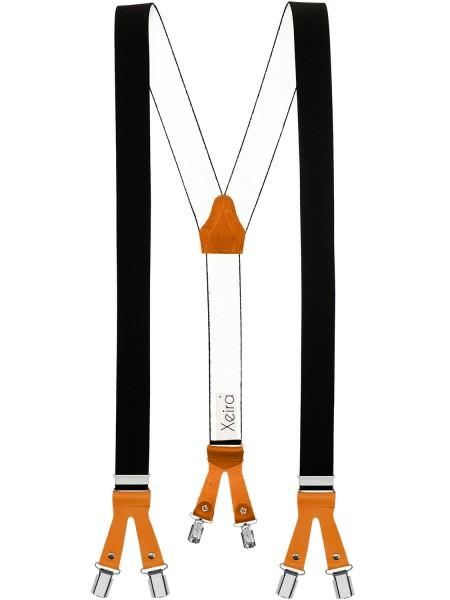 Hosenträger in Uni Schwarz mit Lederriemen und 6 Clips