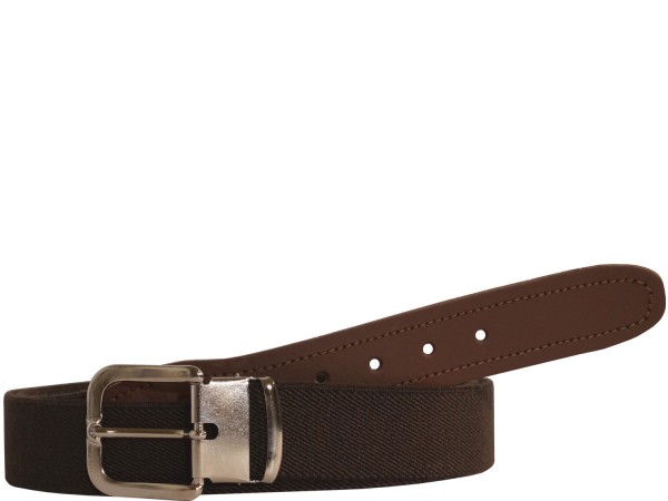 Hochwertiger Elastik- Stoffgürtel in Trendigen Uni Dunkel Braun mit Braunen Leder Endstück - Bundwei