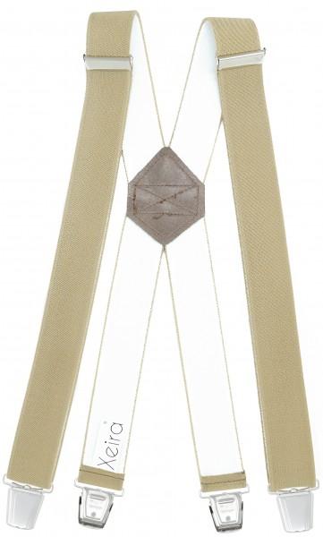 Hosenträger mit 4 XL Clips Extra Lang Beige