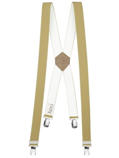 Hosenträger X-Design in Uni Farben mit 4 XL Clips Beige 110cm
