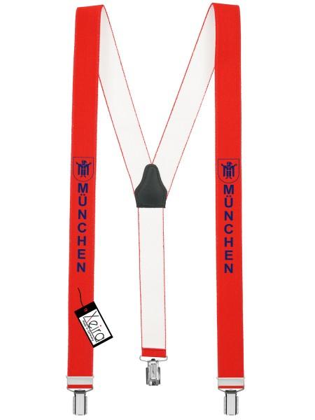 Hosenträger München Design mit 3 Clips von Xeira -Rot