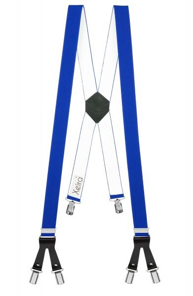 Hosenträger in X Form mit 6 Clips und Lederriemen Königsblau 110cm