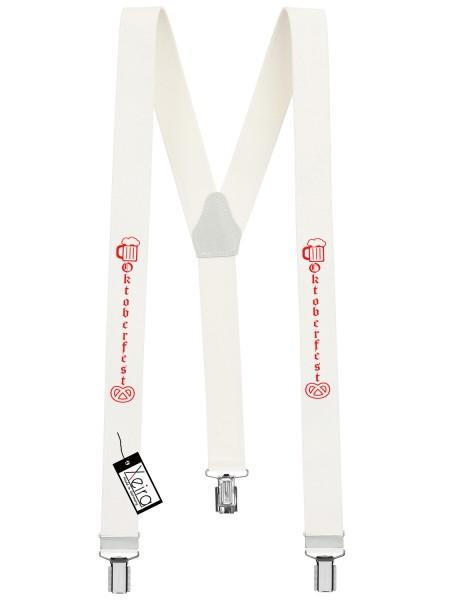 Hosenträger Oktoberfest Design mit 3 Clips von Xeira -Weiß