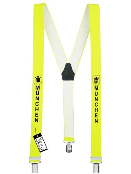 Hosenträger München Design mit 3 Clips von Xeira -Neon Gelb