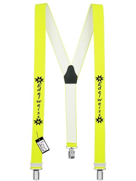 Hosenträger Edelweiss Design mit 3 Clips -Neon Gelb