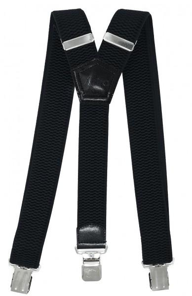 Hosenträger mit 3 Clips 40mm Breit - Schwarz