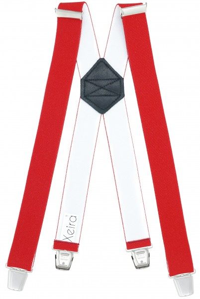 Hosenträger mit 4 XL Clips Extra Lang Rot