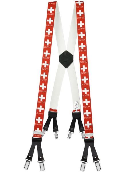 Hosenträger mit 8 Clips in Suisse Design