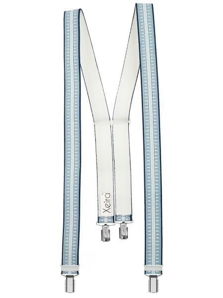 Hochwertige Hosenträger in Trendigen Blau / Beige Gestreift Design mit 4 Clips