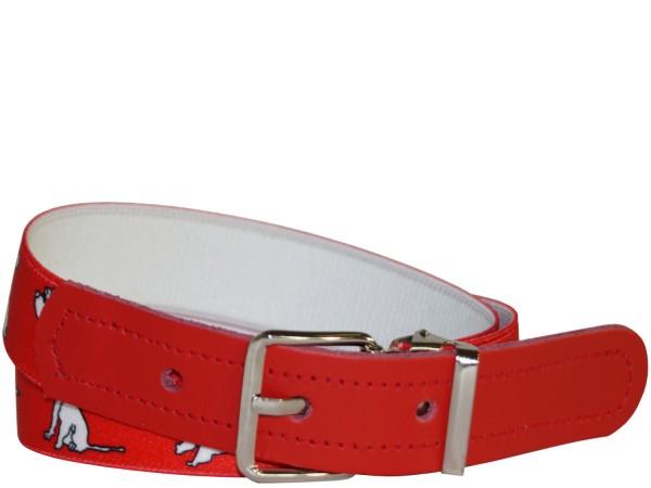 Hochwertiger Kinder Elastik- Stoffgürtel Rot Dogs ´n´ Fun Design mit Leder Endstück