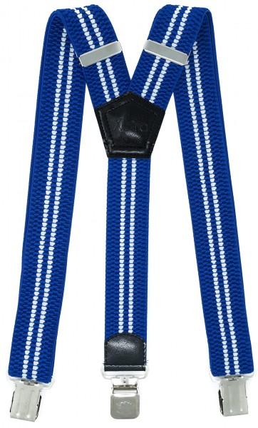 Hosenträger mit 3 Adler Clips 40mm Breit - Blau / Weiß