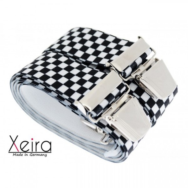 Hosenträger in Schwarz / Weiß Karierten Design mit 4 XL Clip