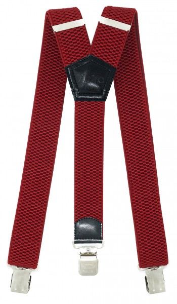 Hosenträger mit 3 Adler Clips 40mm Breit - Rot