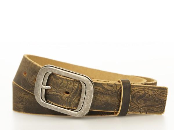 Ledergürtel 4 cm Breite in Schwarz - Vintage Design