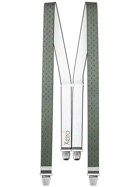 Hosenträger in Vintage Grau Design mit 4 XL Clips