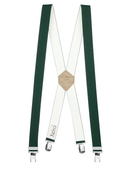 Hosenträger X-Design in Uni Farben mit 4 XL Clips Dunkelgrün 110cm