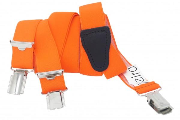Neon Orange 25mm breite Hosenträger für Herren und Damen mit 3 Clips und Echt Leder Rückenteil