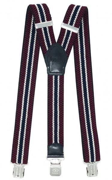 4cm Hosenträger 3 Clips Bordeaux Weiß Blau Gestreift