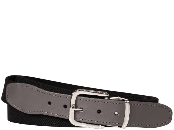 Stretchgürtel / Stoffgürtel - Uni Schwarz mit schwarzem Leder